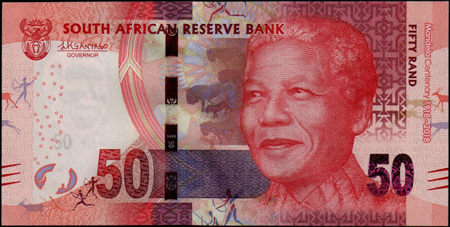 South African Currency 50 Rand Commemorative banknote 2018 Nelson Mandela Centenary