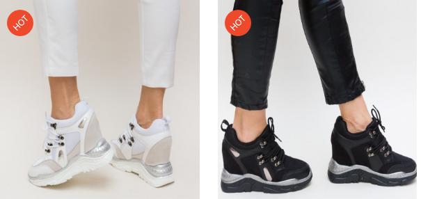 Pantofi sport cu platforma ascunsa inalta model nou 2019 negri, albi frumosi