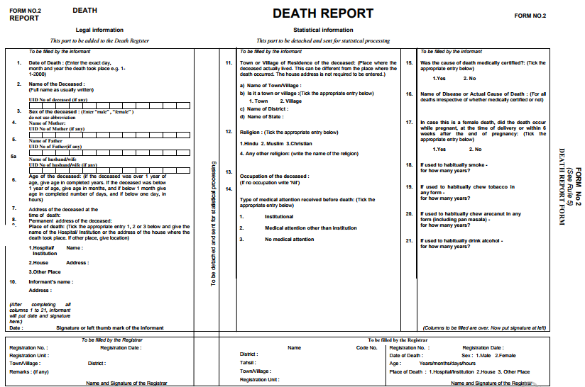 Ration birth pan marriage death aadhar card in india crsorgi death report form 2 yelopaper Image collections