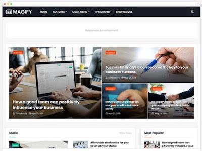 Magify-Template Majalah Responsive, SEO Dan Fast Loading Dari Templateify