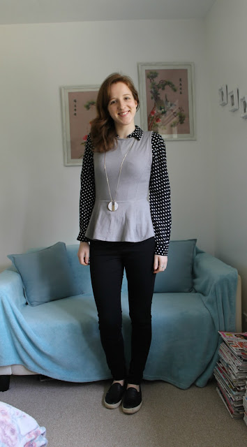 OOTD, outfit, Topshop, New Look, Spotty Shirt, Accessorize, Backpack, ASOS, Black, Jeans, Peplum Top, Warehouse