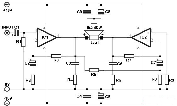 Schematic: Build a 35W Bridge Power Amplifier with TDA2030