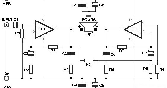 W Bridge Power Amplifier With Tda on 12v Power Supply Circuit