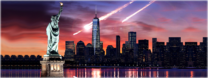 simulação impacto de asteroide em Nova York