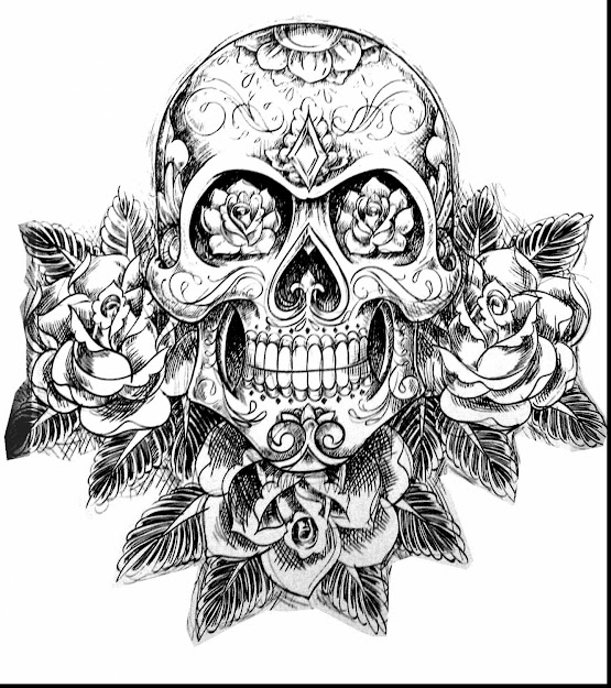 Outstanding Skull And Roses Coloring Pages With Sugar Skull Coloring Pages  And Sugar Skull Coloring Pages