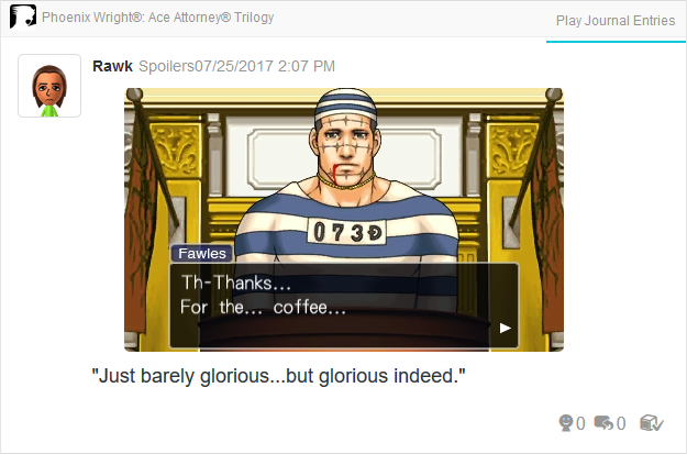 Phoenix Wright Ace Attorney Trials and Tribulations Terry Fawles thanks for the coffee