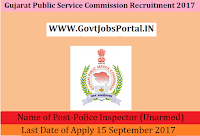 Gujarat Public Service Commission Recruitment 2017– 115 Police Inspector