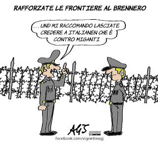 Austria, brennero, migranti, frontiere, muri, vignetta, satira