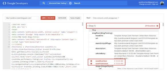 Mengatasi Error Datemofied Dan Datepublished Structured Data Testing Tools