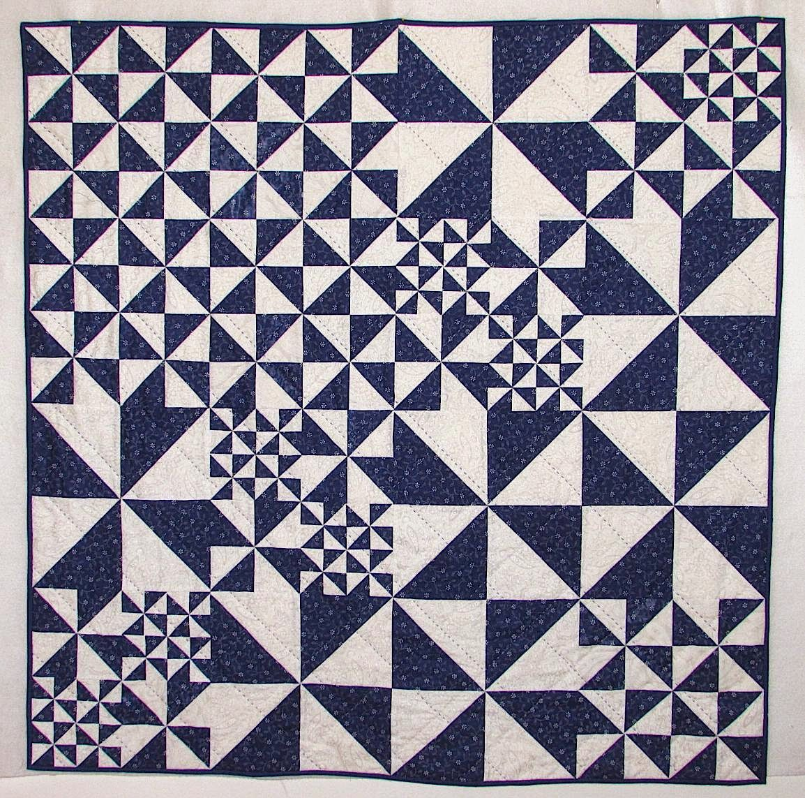 Quilted Fabric Blue Blue Hungarian ...