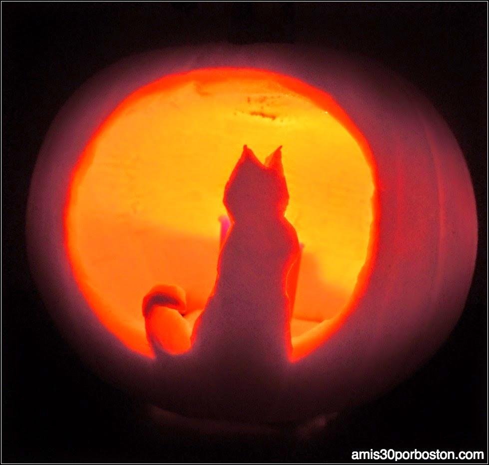 Calabazas Decoradas para Halloween: Gato y Luna Llena