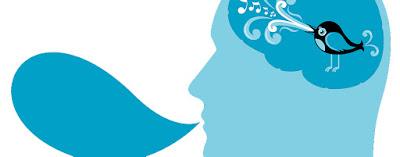 Réplica del logo de Twitter en un dibujo de cabeza humana