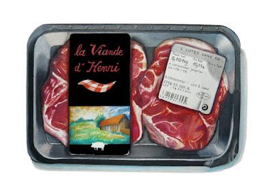 """barquette avec l'étiquette """"viande d'henri)"""