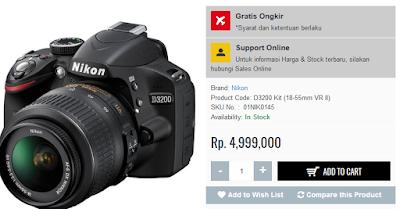 Harga Nikon D3200 Rp 4.999.000; di Tokocamzone.Com