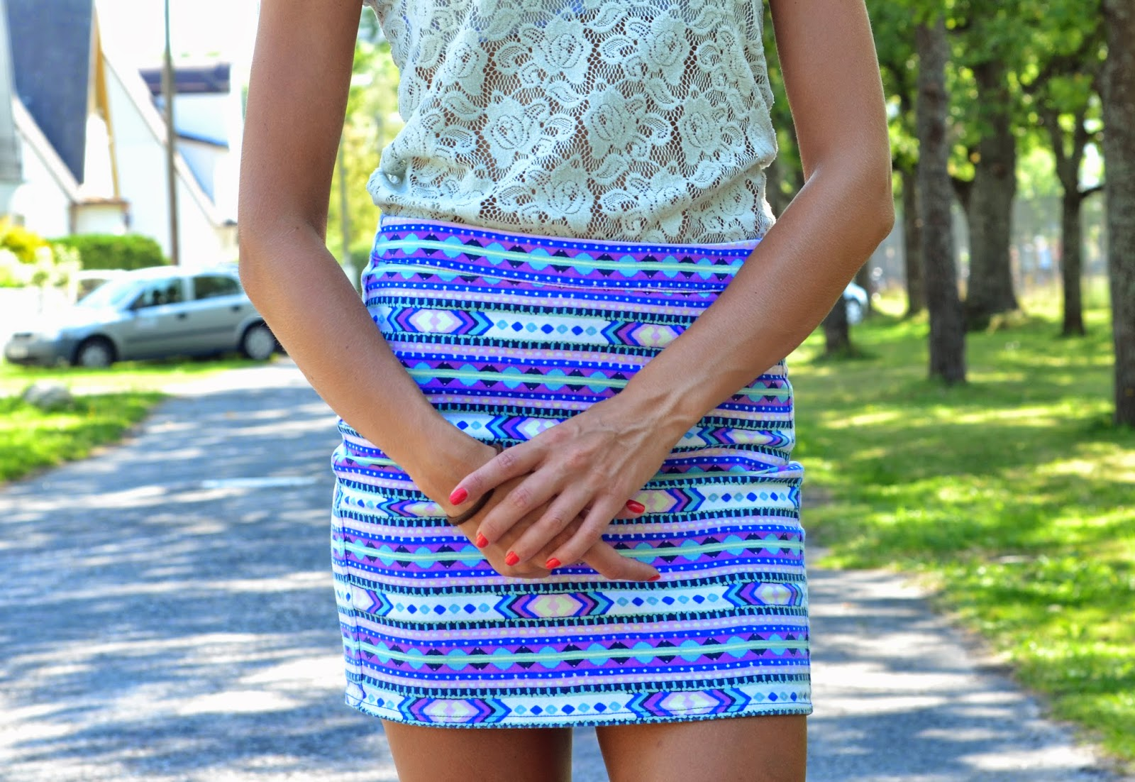 lace top crochet aztec print mini skirt