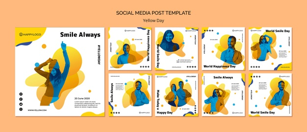 Yellow happy day social media post template Free Psd