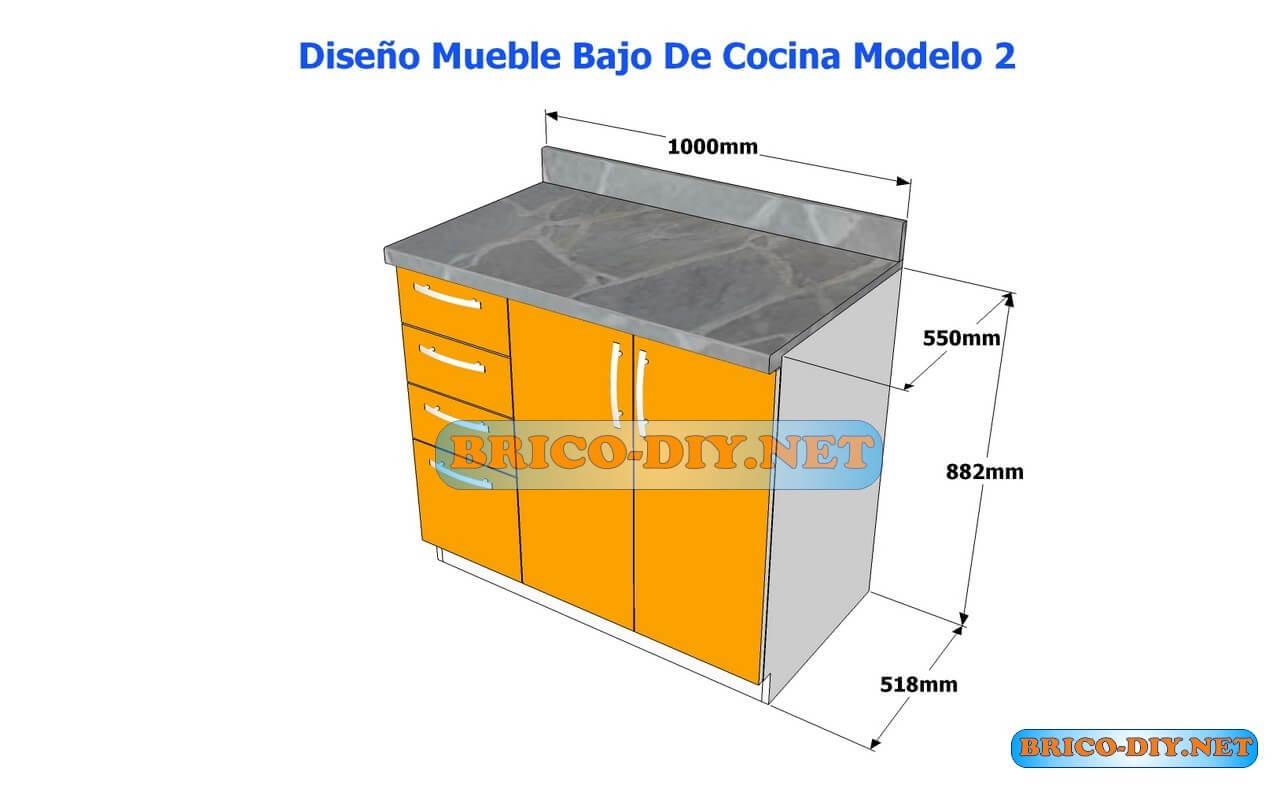 Dise os de muebles bajos de cocina en mdf madera y for Planos de muebles de cocina