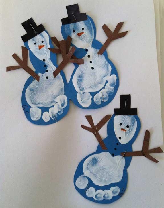 Entrenubesespeciales manualidades de navidad con huellas - Munecos de nieve para dibujar ...
