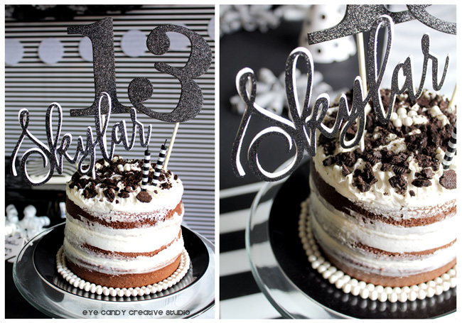 black & white birthday cake, custom cake topper, naked birthday cake