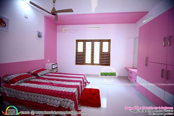 Pink room furnished interior
