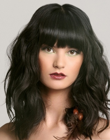 Stupendous Long Messy Hair Style With Blunt Bangs 2014 Long Hairstyles 2014 Short Hairstyles Gunalazisus