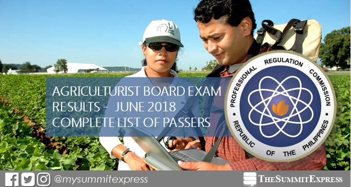 FULL RESULTS: June 2018 Agriculturist board exam list of passers, top 10