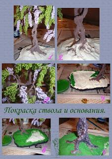 Дерево из бисера глициния. Мастер-класс