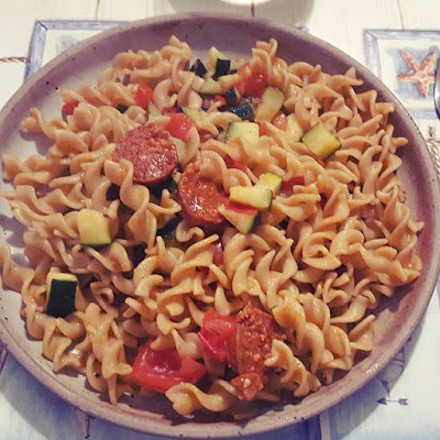 #letscookourbooks cuisine cooking recipe pasta courgettes tomates