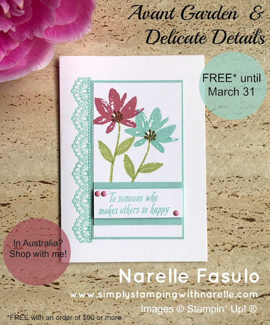 Avant Garden - Delicate Details - Sale-A-Bration - FREE with a qualifying order  until march 31 2017 - Simply Stamping with Narelle - shop here - https://goo.gl/Ac5IT9