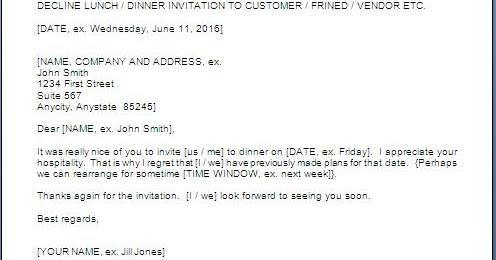 Declining Dinner Invitation Sample Letter