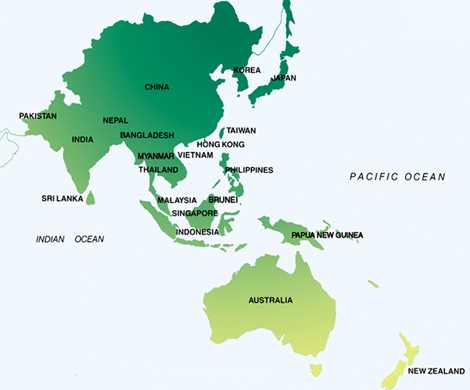 Map of asia and the south pacific asia pacific map gumiabroncs Image collections