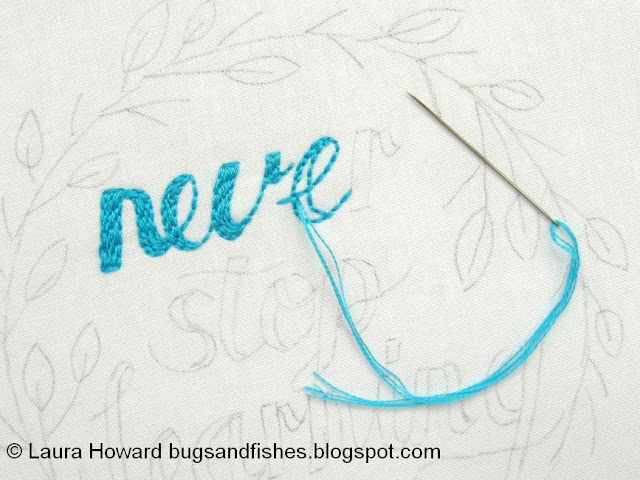 Stitching the lettering
