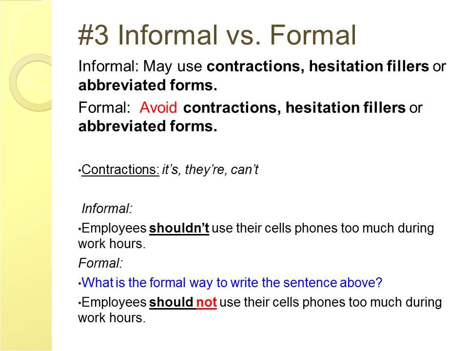 English And ESOL Lab Workshops Formal Vs Informal Writing