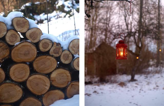 Lanterne i haven om vinteren