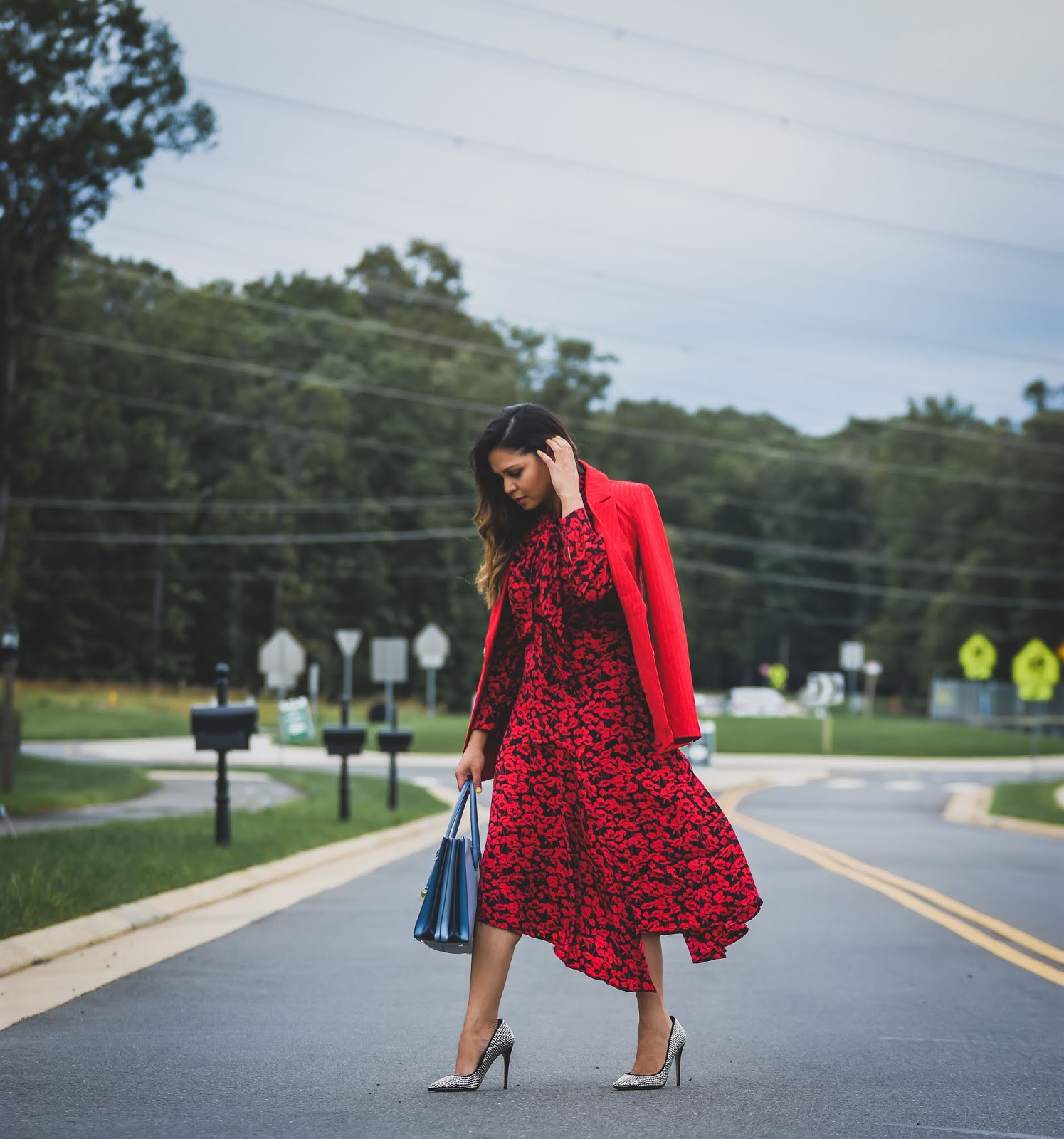 WAYS TO UP your office style, office look, slip skirt, target animal print skirt, red ruffles hem skirt, aldo studded heels, personalised michael kors bag, myriad musings