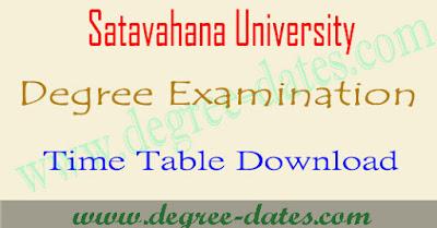 Satavahana university degree time table 2018 su ug exam dates