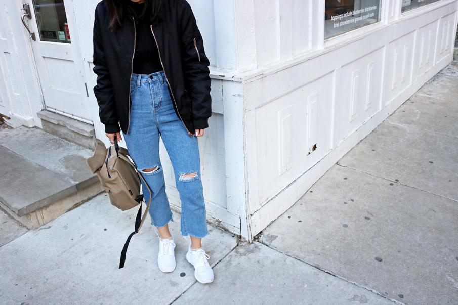 Black Bomber Jacket, Mom Jeans, White Sneakers