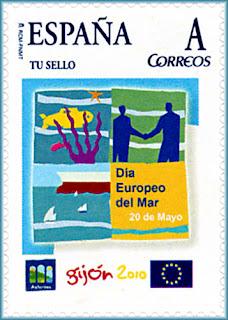 Sello personalizado dedicado al Día Europeo del Mar, Gijón.