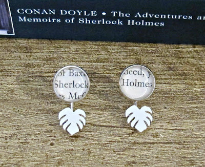 monstera earrings sherlock holmes two cheeky monkeys bookworm gift literary bookish