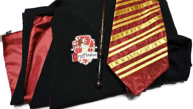 Одежда Гриффиндора: мантия Гарри Поттера, галстук и волшебная палочка. Подарок подростку, экипировка волшебника