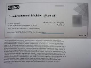 poza biletului hidos la concertul Insomnium de la Bucuresti din martie 2018
