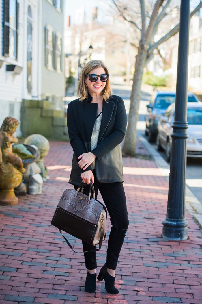 Jessica Faulkner Leather Contrast Jacket