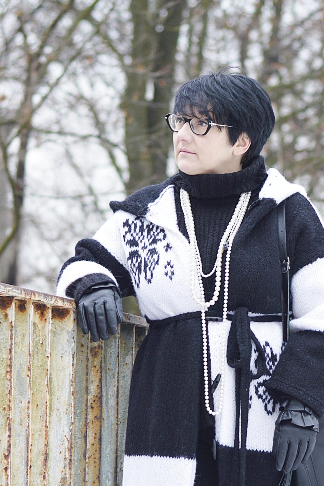 Wełniany płaszcz ręcznie robiony, Hand Made, Knitting Designer, Sonia Dziech