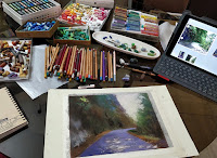 Initial step to creating a soft pastel painting, a scene from Sikkim. By Manju Panchal