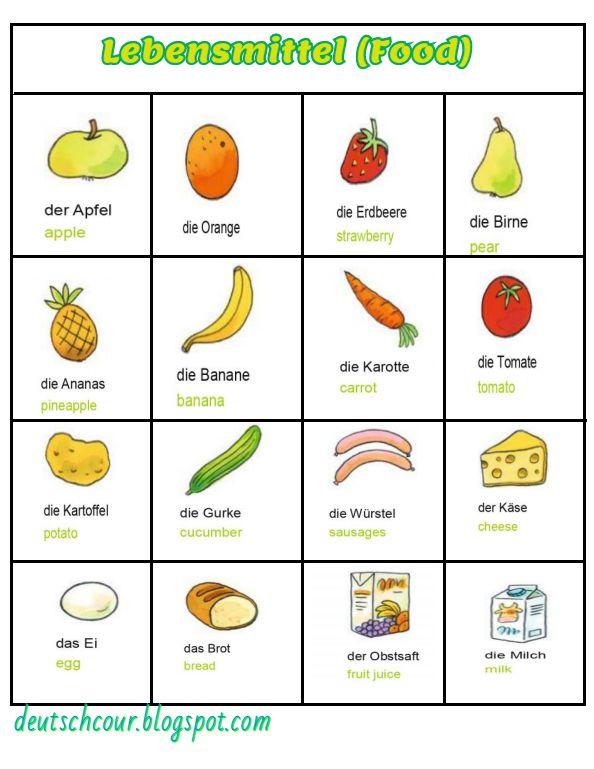 Musterbriefe Daf : Lebensmittel food deutsch lernen