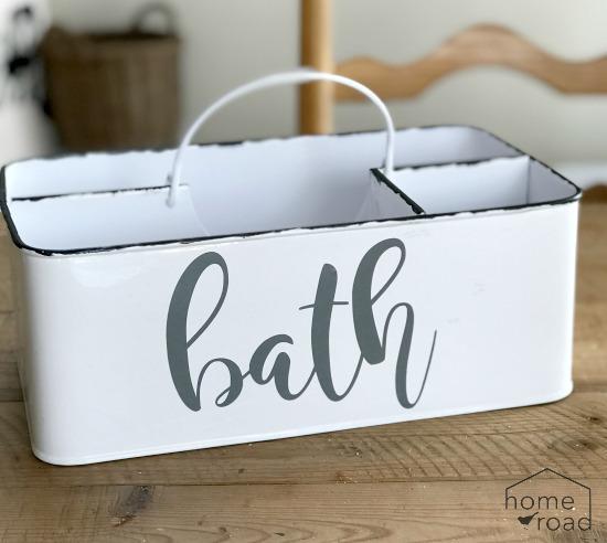 Creating Enamelware Bathroom Storage