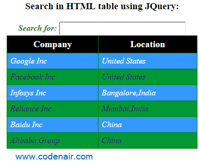 jquery live search html table