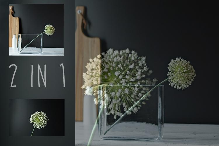 2in1 - Blog & Fotografie by it's me! - zwei Bilder einer Porreeblüte übereinandergelegt