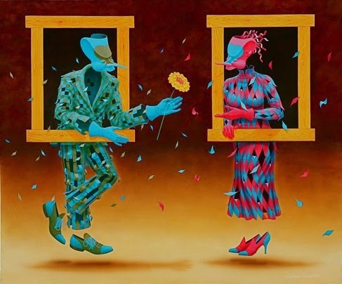 Enamorados - Claudio Souza Pinto e suas pinturas cheias de cor e criatividade