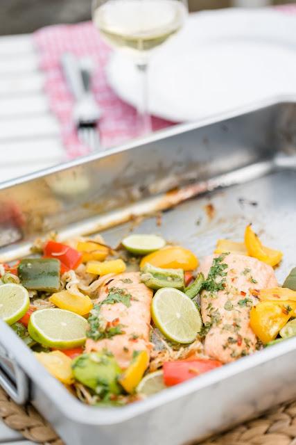 Lachs Limette Chili mit Paprika, schnelle Küche, Pomponetti